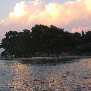 Sunsert over Galevac Island Preko where the  Franciscan Monastery Of St. Paul the Hermit is locaterd