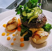 5oz Fillet Steak with Mashed Potatoes, Scallops and Seasonal Vegetables