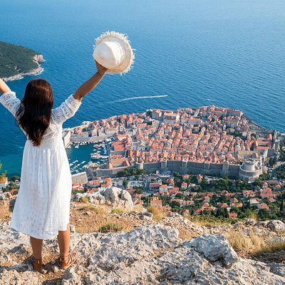 View of beautiful Dubrovnik, from Srđ hill,