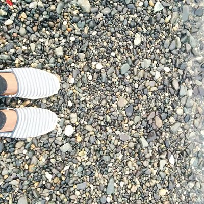 Jujeon black pebble beach in Ulsan.