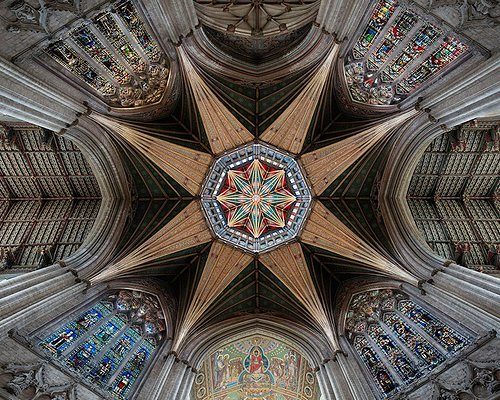 Looking up at the Octagon Tower of Ely Cathedral.