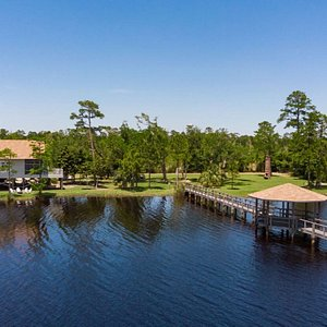 Each cottage is situated on the northern shore of Lake Shelby in Gulf State Park