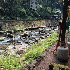 駐車場から、かんり降りてきた渓流全て利用。アマゴとニジマスは放流済。