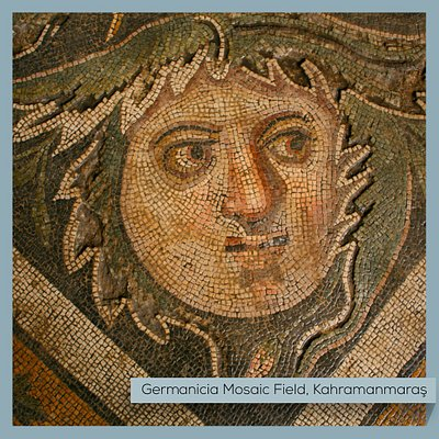 Striking Roman and Byzantine era mosaics were found in 2007, leading to the discovery of a lost ancient city: Germanicia! The mosaics have a unique style due to their intricate workmanship, patterns in depictions, and diversity of iconography. In the second picture, you can see a depiction of a hunting scene, reflecting the daily life of the period.  #Turkey #Kahramanmaras #Germanicia #Mosaics #MuseumFromHome