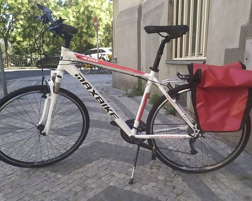 """We customise touring bikes based on the """"Aras"""" model of Czech manufacturer Maxbike, a light built hybrid bike with 28"""" wheels and standard Shimano components. Waterproof Ortlieb pannier bags and other useful equipment available on demand."""