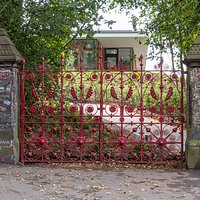 The iconic red gates of Strawberry Field