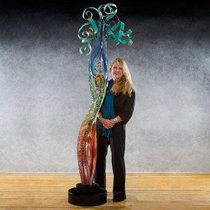 Glass Sculpture with artist, Susan Gott