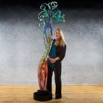 Glass Sculpture with artist, Susan Gott