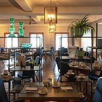 Salle à manger Hotel Cap-aux-Pierres, vue sur le fleuve