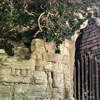 boarded up old stone staircase of St. Olof Church ruins