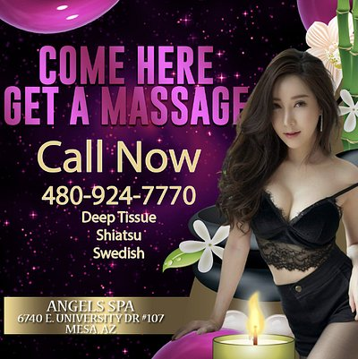 💘 ⭐️ 🌹Angels Spa 🌹 ⭐️ 💘   Here at Angels Spa we are massage therapists trained to provide all kinds of massages in one place!    ⭐️Luxury Asian Massage Spa! ⭐️  We are open: 9:00 am - 10:00 pm  💘 ⭐️ 🌹 🧧 🌹 ⭐️ 💘  Address:  6740 E University Dr #107, Mesa, AZ 85205  Asian Staff | Accept credit cards | Table Shower | Regular Shower | Deep Tissue | Shiatsu | Swedish | Back Door Entrance | Thai Massage | Private Rooms | Hot Towels | Luxury Asian Spa