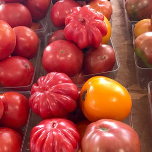 Heirloom tomatoes from Byler's at the Cadillac farmers market. The market has a great selection of farm-fresh fruits and vegetables near the old train depot.