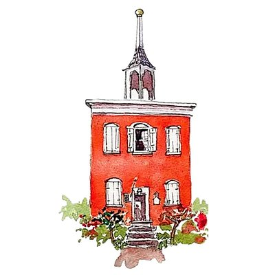 The logo and watercolor painting of the Old Academy building in Wiscasset, where the Maine Art Gallery is.