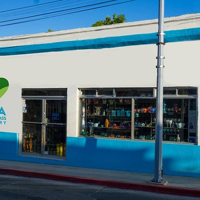 Find the Baja blown glass factory by the colorful heart