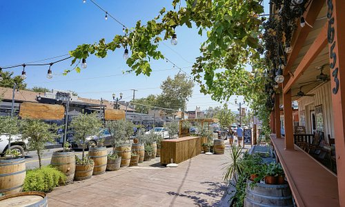 Wander Local in Old Town Temecula. This beautiful view can be found in front of Temecula Olive Oil Company and 1909. Several Restaurants in Old Town have nice outdoor dining areas. See VisitTemeculaValley.com to learn more.