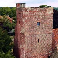View of the church tower (what IS that wooden hut at the top used for?)