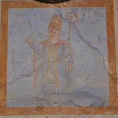 Affresco in facciata raffigurante Sant'Eusebio Vescovo di Vercelli (  283 - 371 )
