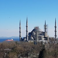 View towards the Blue mosque with the Bosphorus straight behind.