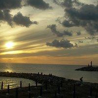 Il Marinaio al tramonto visto dalla terrazza dell'Hotel stella marina