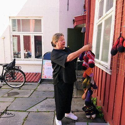 Julekroken - a different kind of gift shop. Carrying amongst others handmade, colourful woolen slippers.