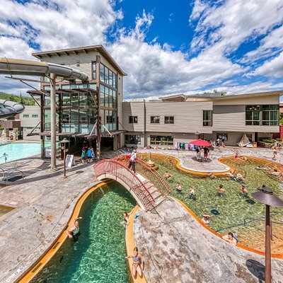 Warm pool with newly renovated fitness center in the background.