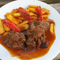 Oxtail stew and chips