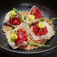 Pork rinds and tuna combination.