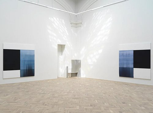 A reflection from the glass dome, with two of Callum Innes's Exposed paintings.