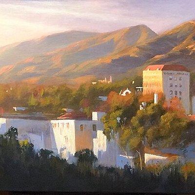 Richard Schloss Light Over City,Santa Barbara Art District 24 x 48 ol on canvas Framed    *Available at Santa Barbara Fine Art