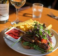 Open Ribeye Steak Sandwich, with Smoked Mushrooms and Chunky Fries.