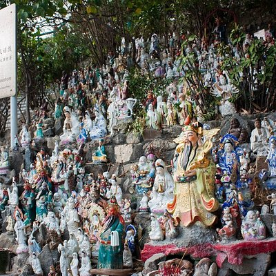 Religious figurines left behind in Waterfall Bay