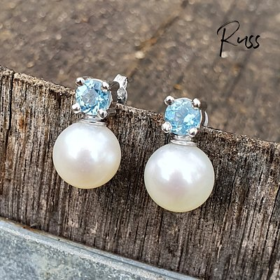 Australian Aquamarine & South Sea Pearl Stud Earrings in 9ct White Gold. Designed and made by Russ Studios