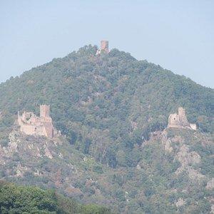 Les 3 châteaux au-dessus de Ribeauvillé (photo prise depuis l'église fortifiée d'Hunawihr)