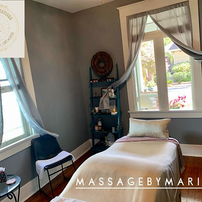 Fresh air! The spa room is disinfected and thoroughly cleaned top to bottom in between clients. Phone Consultation to clear all clients for treatment (Covid) prior to booking deep tissue sessions.