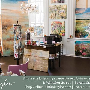 Welcome to the Tiffani Taylor Gallery, an Art Sanctuary! We are OPEN Monday through Saturday, 10-6:00 and always online at TiffaniTaylor.com. We look forward to welcoming you! ❤  Thank you to Savannah Magazine readers for voting us the number one Gallery in Savannah, two years in a row!  Love & Light! Tiffani 11 Whitaker Street, Savannah, GA (912) 507-7860