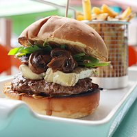 Brie & Mushroom burger with homemade french fries