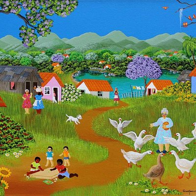 "Quadro da pintora Ana Maria Dias  ""40X50  Ana Marina Painting´s ""Taking Care of Geese"" 40X50cm """
