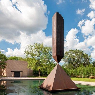 Broken Obelisk by Barnett Newman, Rothko Chapel.