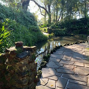 the path, pond and part of a bridge