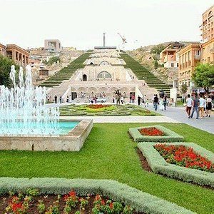 The Cascade  is a giant stairway made of limestone in Yerevan, Armenia. It links the downtown Kentron area of Yerevan with the Monument neighborhood. Designed by architects Jim Torosyan, Aslan Mkhitaryan, and Sargis Gurzadyan the construction of the cascade started in 1971 and was partially completed in 1980.