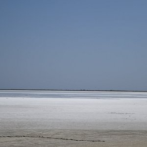 The rich summer layer of white salt on the surface of Aliki lake is a real poetical inspiration - Lemnos, Greece