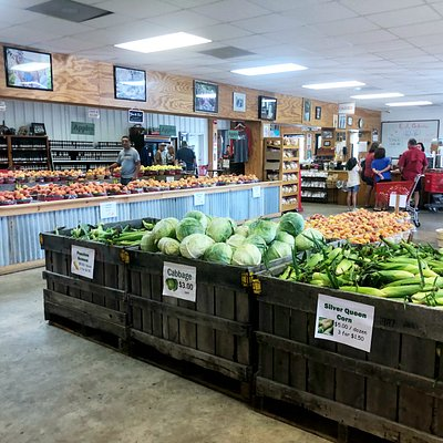 You'll find a large array o fresh fruits and vegetables, jams, jellies, baked goods, and more in our farm market.