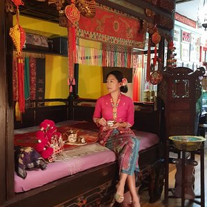 The traditional Peranakan Chinese bed...