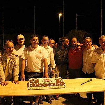 The local football team celebrating