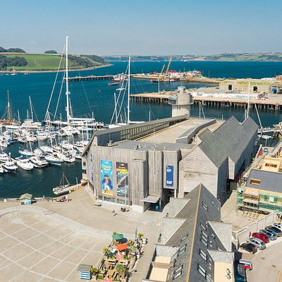 National Maritime Museum Cornwall from the air.