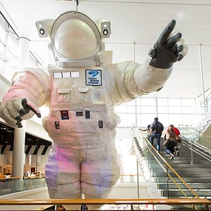 More than 60 feet high, the giant astronaut floats in the center of the museum as if there wasn't gravity holding us down here on Earth. and it also provides one of the most out-of-this-world selfie spots in the Twin Cities.