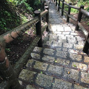 Final staircase leading to the Cheung Chau North Lookout Pavilion. The trail is a well maintained track and is a combination of paths and stairs, taking you to the highest  point on the island.