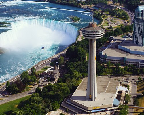 Skylon Tower exterior with Canadian Horseshoe Falls in the background.