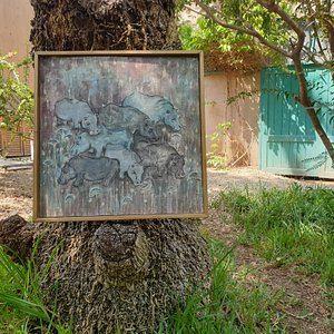 A fresco by Marian Nosshi in the garden outside her studio