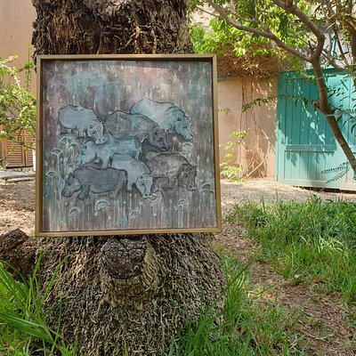 A fresco by Marian Nosshi in the garden outside her studio